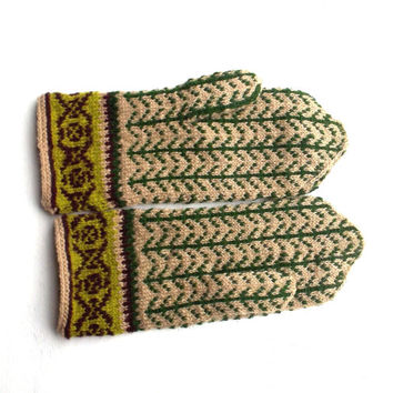 Hand knitted latvian wool mittens knitting ethnic mitts patterned sand green wool gloves handknit folk arm warmers nordic ornamented mitts