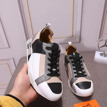 Hermes Men Fashion Boots  fashionable casual leather  Breathable Sneakers Running Shoes Sneakers
