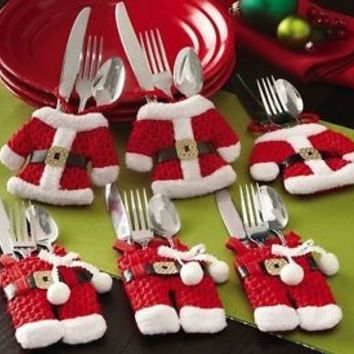 6 Pcs Christmas Decorations Happy Santa Silverware Holders Pockets Dinner D¨¦cor #mgsu = 1945975364