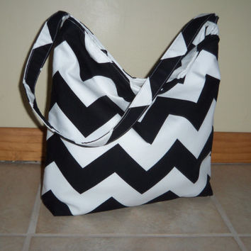 Large Chevron Slouchy Hobo Purse Handbag Tote