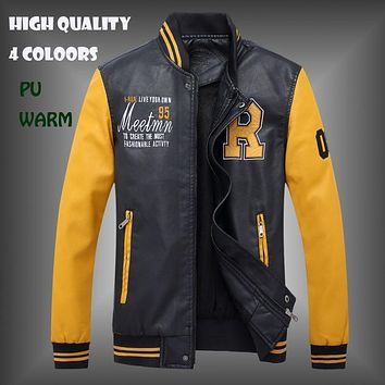 New Winter Men's PU Leather Coat Fashion Casual Slim Fit Plus Size Baseball Jackets S--4XL 4Colors