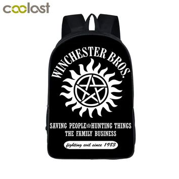 Supernatural Backpack Demon Hunter Winchester Bros Sam Dean Backpack Book Bag Children School Bags For Teenagers Backpacks