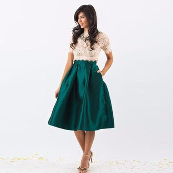 DKF4S Dark Green Satin Skirt Zipper Waist Knee Length A Line Skirt Pleated Skirts Women