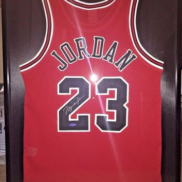 MICHAEL JORDAN SIGNED RED BULLS JERSEY UDA COA FRAMED AUTOGRAPH UPPER DECK 23