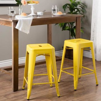 Lovin Lemon Yellow 24 inch Gloss Bar Stools - Set of 2