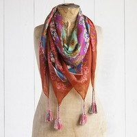 Silk  Scarves:  Turquoise  &  Green  Flower  With  Orange  Border  Silk  Scarf  |  Natural  Life