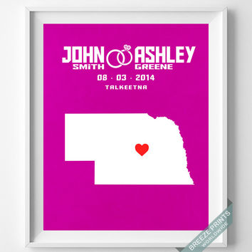 Anniversary, Print, Nebraska, Wedding, Customized, Couple, Personalized, Gift, Map, Custom, Wall Art, Home Decor, Marriage, Love [NO 26]