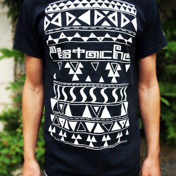 AZTEC PRINT T-SHIRT mens boys 80s retro tribal american indian top new black era hip hop clothing