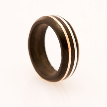 wood ring with silver and copper inlay