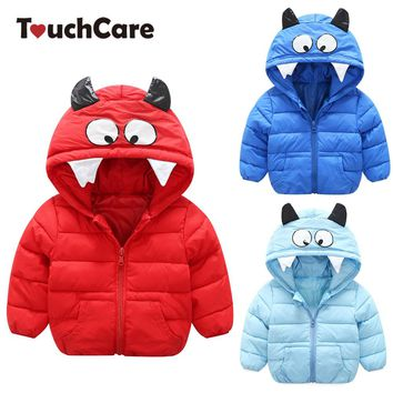 Touchcare Monster Parkas Autumn Winter Warm Coats Boys Girls Jacket Children Clothes Baby Halloween Horns Hooded Chaqueta