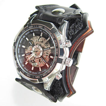 Steampunk Watch, Black Bikers Watch, Gothic watch