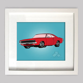Red Dodge Charger 8x10 Illustration for Boys Room Decor, Nursery Wall Art, Boys Room Art, or Toddler Boys Room(Digtial Download)
