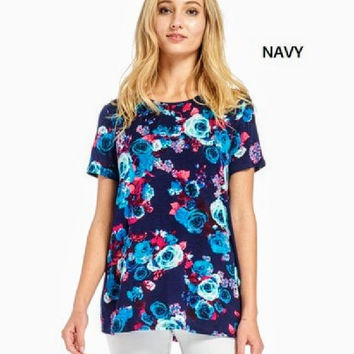 Navy 'Beauty & the Beast' Floral Flowly Boutique Style Tunic Top!