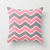 Pink Grey Chevron Throw Pillow by Dale Keys | Society6