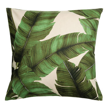 Print motif cushion cover - Natural white/Leaf - Home All | H&M GB