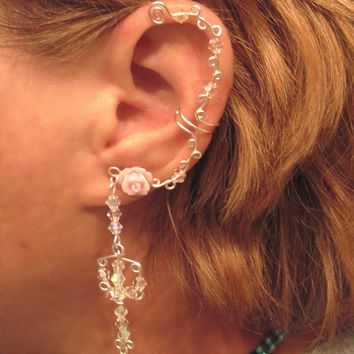 No Piercing Crystal Trident Key Rose and Crystal Long Dangle Ear Cuff Handmade in the USA