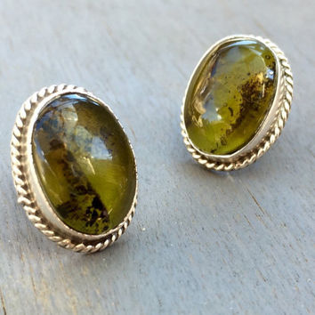 Vintage Green Stone Earrings Sterling Silver Taxco Mexico Jewelry Green Prehnite Jewelry