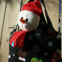 Winter Mittens Mini Sac Tote with Snowman Plushie
