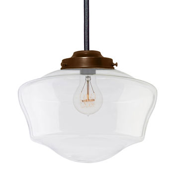 Schoolhouse Clear Glass Bronze Cloth Cord Pendant Light