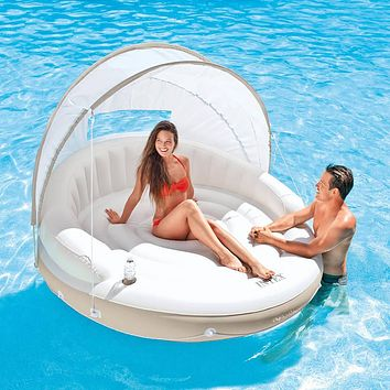 Inflatable Oversized Swimming Pool Water Lounge Couch with Sun Shade Canopy n Cup Holder