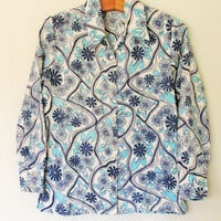 Vintage 1960's Psychedelic Floral Print Button Down Shirt