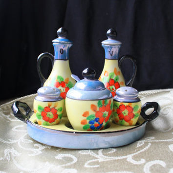 1920s Japanese Lusterware Condiments Set