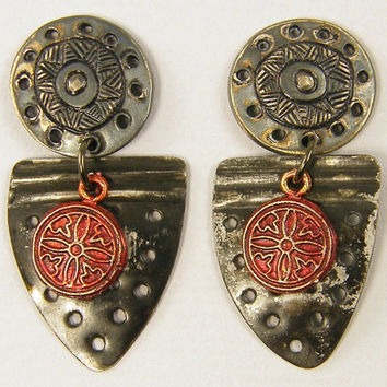 Red Black Earrings, Upcycled Jewelry, Urban Earrings, Eclectic Ethnic Tribal Post Jewelry
