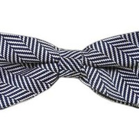 100% Woven Silk Navy Native Herringbone Patterned Self-Tie Bow Tie