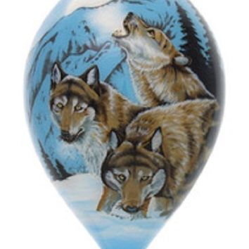 Moon Dancer Wolves Hand Painted Christmas Ornament