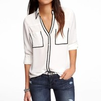 CONTRAST PIPING PORTOFINO SHIRT