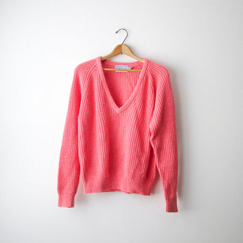 80s Bright Pink Forenza V-Neck Sweater - M