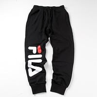 FILA Winter Fashion Women Men Print Velvet Pants Trousers Sweatpants