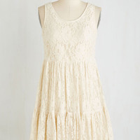 Boho Mid-length Sleeveless Empire Pom-Pom Springs Dress by ModCloth