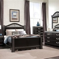 Odessa Traditional Wood 5pc Bedroom Set w/Black King Poster Bed