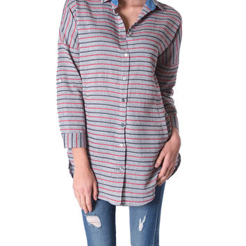 Modern Stripe Tunic Shirt Top By mo:vint - Gray