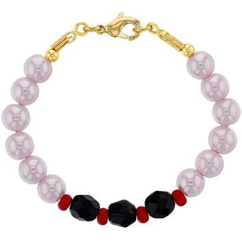 """18k Gold Plated Pink Simulated Pearls Protection Bracelet for Toddlers Girls 5"""""""