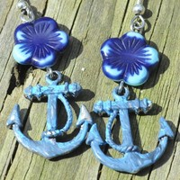 Handpainted tropical anchor and flower earrings