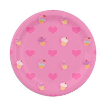 Pink Cupcake Pattern 7 Inch Paper Plate