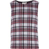 River Island Girls red check jacquard tank top