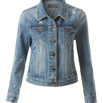 LE3NO Womens Distressed Long Sleeve Ripped Denim Jacket with Pockets