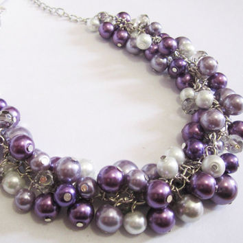 Bridesmaid Jewelry, Purple Cluster Necklace, Pearl Necklace, Plum Bridesmaid Necklace, Wedding Party Jewelry