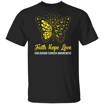 Faith Hope Love Gold Butterfly Childhood Cancer Awareness