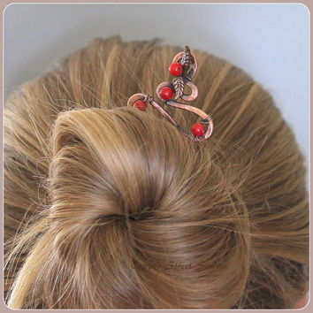Hair Stick, Copper Hair Stick Red Coral Beads Copper Leaves, Hair Pin Copper Hair Accessory Womens, Bun Pin Copper Hair Barrette, Hair Clip