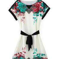 White Floral Mini Dress With Sash