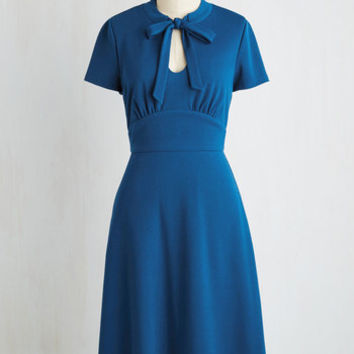 Vintage Inspired Long Short Sleeves A-line Archival Revival Dress in Lake Blue