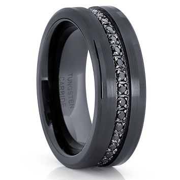 Black Tungsten Wedding Band - 8mm - Black Tungsten Ring - Men's Ring