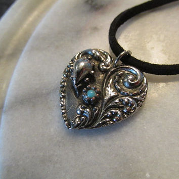 Victorian style heart suede leather choker necklace pendant handmade repurposed vintage 70s goth steampunk.