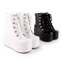 Fashion Women's Punk Boots Platform Lace up Creepers Gothic Shoes Slouch Boots