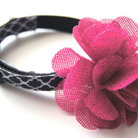 Pink Burlap Flower Dog Collar Attachment