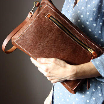 Multi pocket leather clutch, rust leather purse, brown leather clutch, zipper clutch / purse, wrist strap